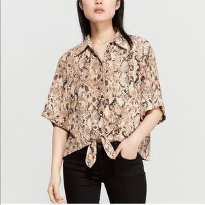 Sanctuary Drop Shoulder Animal Print Shirt Top